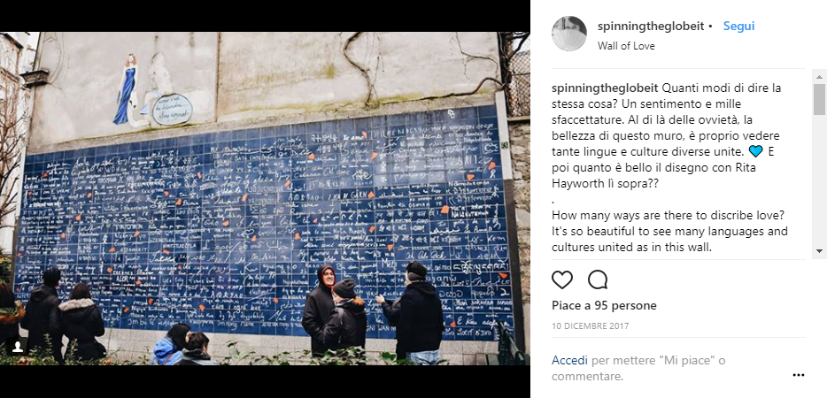 Il Wall of Love di Montmartre su Instagram