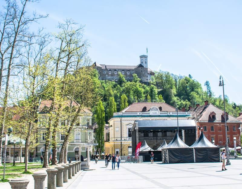 Vista sul castello di Lubiana