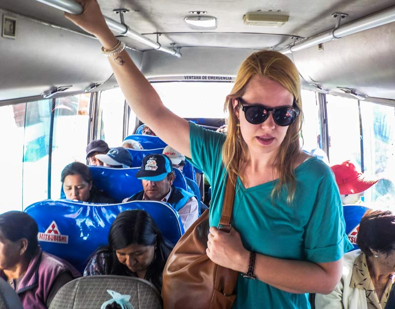Sull'autobus peruviano