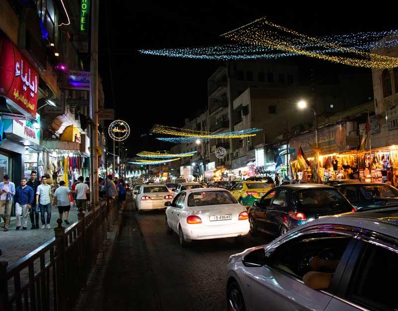 Downtown Amman di sera